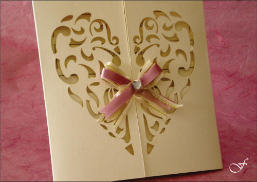 Bachelorette Cards with Laser Cut Heart Shape and Ribbon by Fralenco