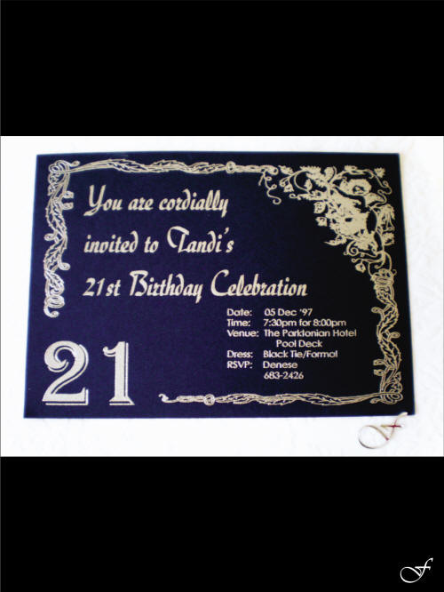 Silver & Blue 21st Birthday Invitation by Fralenco