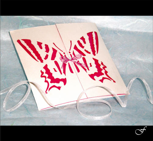 Birthday Invitations Laser Cut Red Butterfly by Fralenco