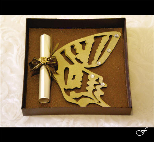 Birthday Invitations Laser Cut Gold Butterfly by Fralenco