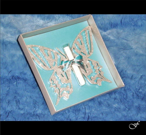 Birthday Invitations Laser Cut Silver Butterfly by Fralenco