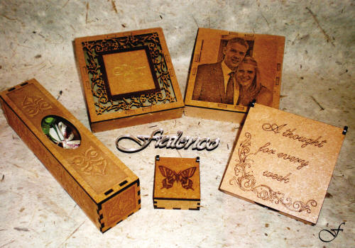 Various type of laser cut boxes by Fralenco