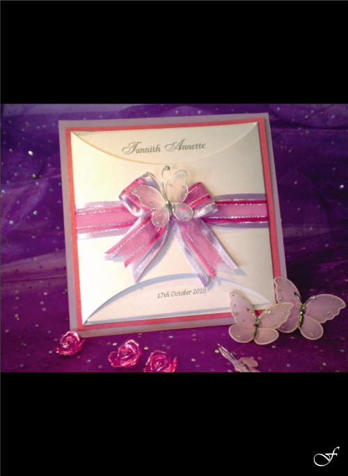 Celebration Butterfly & Ribbon Invitation by Fralenco