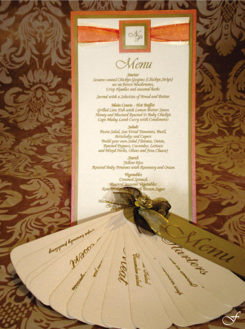Menu with Orange Ribbon - Fralenco