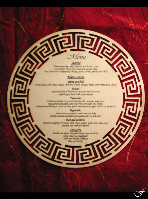 Menu Table Underplate Laser Cut by Fralenco