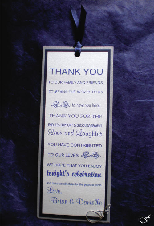 Thank You Card - Blue Ribbon - By Fralenco