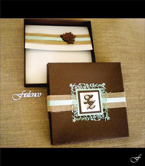 Wedding Invitation Box Brown Ribbon & Initials by Fralenco