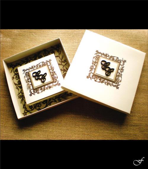 Wedding Invitation Box Brown Initials by Fralenco