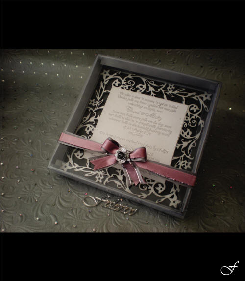 Wedding Invitation Box with Pink Ribbon by Fralenco