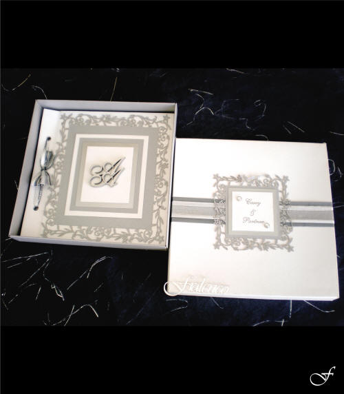 Wedding Invitation Box with Silver Ribbon by Fralenco