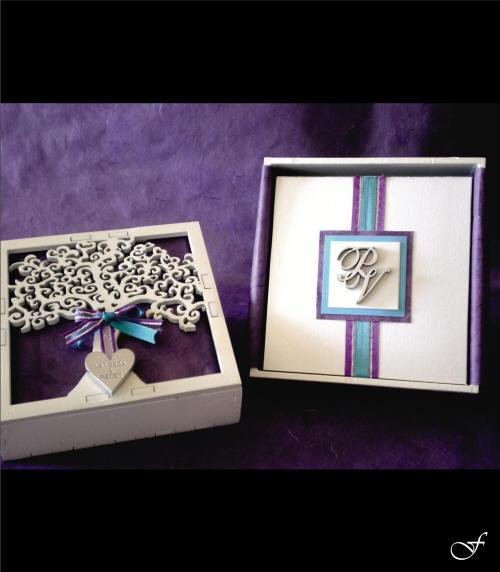Wedding Invitation Box with Blue Ribbon by Fralenco