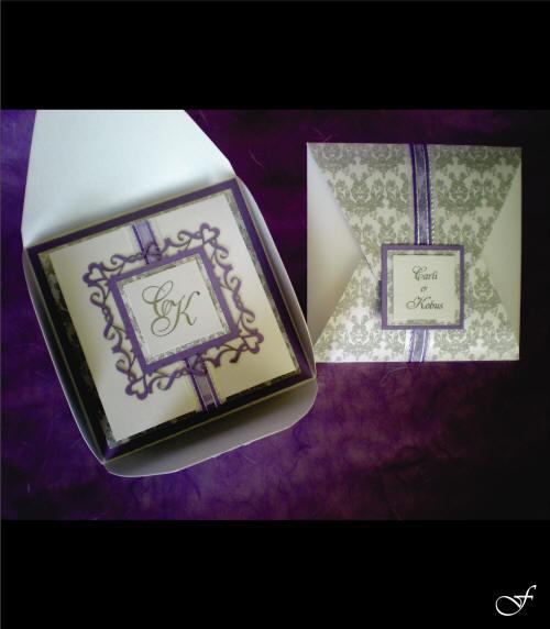 Wedding Invitation Box with Purple Ribbon by Fralenco