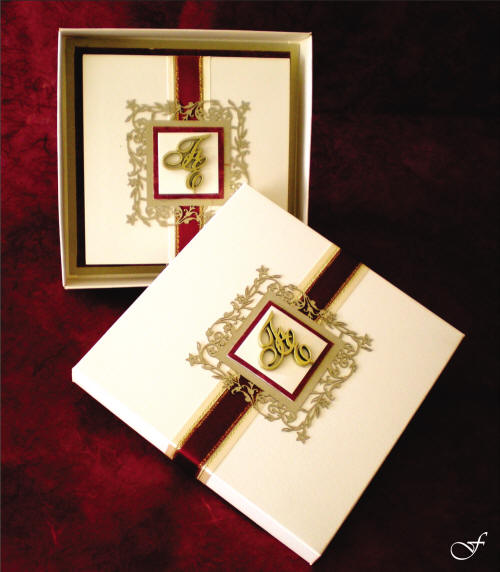 Wedding Invitation Box with Red Ribbon by Fralenco