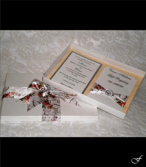 Wedding Invitation Box with Rose Ribbon by Fralenco
