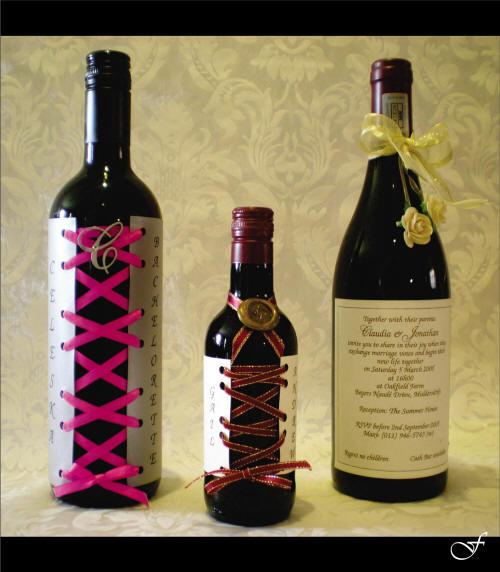 Wedding Invitation Wine Bottles from Fralenco