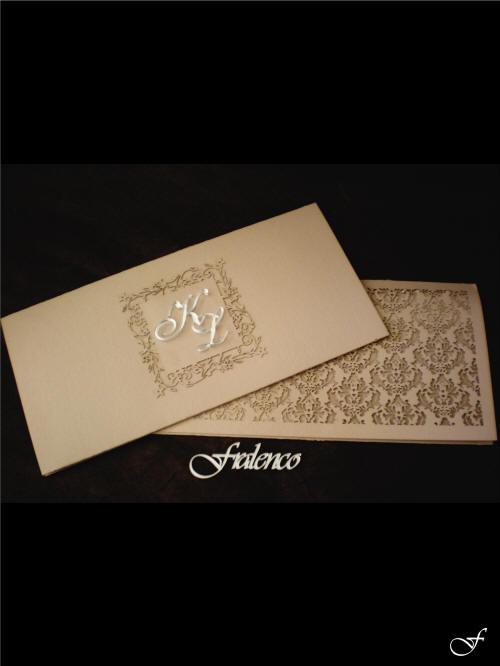 Beige Laser Cut wedding Invitation & Envelope by Fralenco