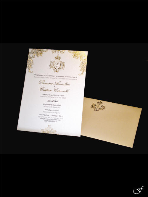 Wedding Invitation & Envelope with a Family Crest by Fralenco