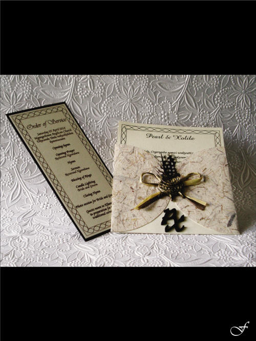 Wedding Invitation & Envelope with Feather by Fralenco