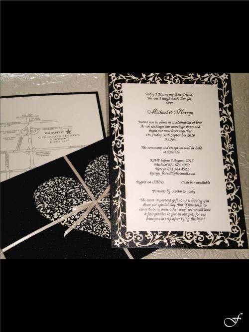 Heart Laser Cut into Envelope with Wedding Invitation y Fralenco