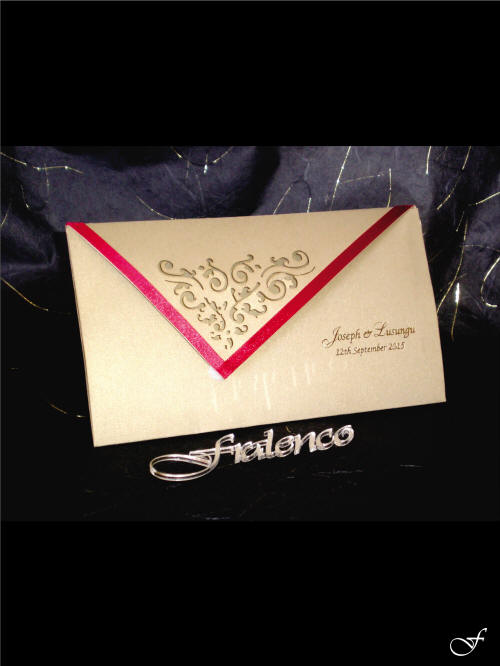Ribbon Edged Wedding Invitation and Envelope - Fralenco