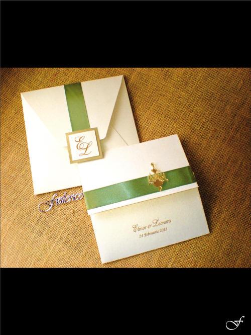 Ribbound Bound Wedding Invitation & Envelope from Fralenco