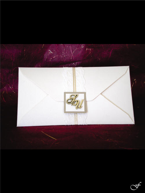 White Wedding invitation with Envelope from Fralenco
