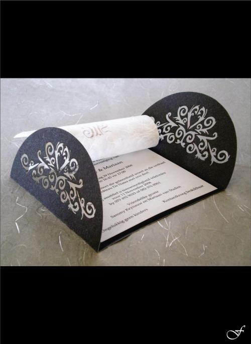 Wedding Invitation Side Fold Barrel Shape by Fralenco