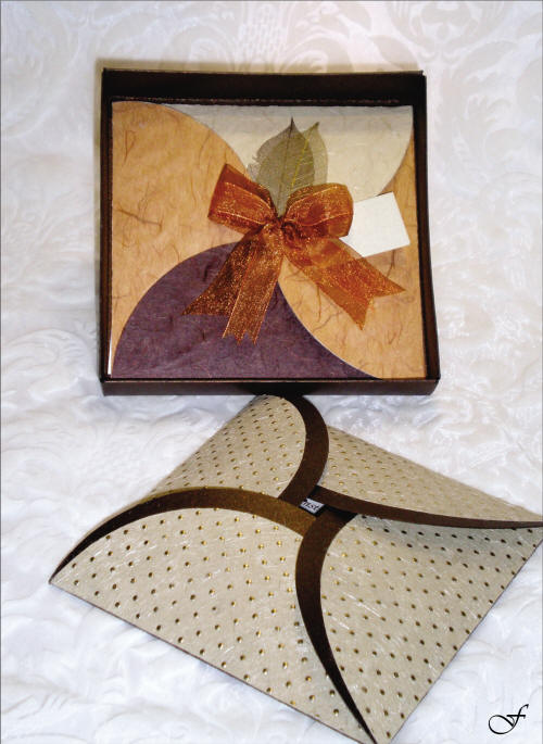 Wedding Invitation Folded with Brown Ribbon by Fralenco
