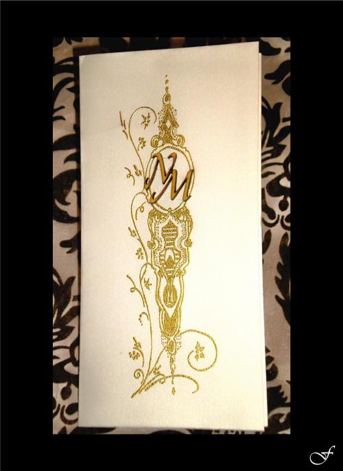Single Folded Gold Wedding Invitation by Fralenco