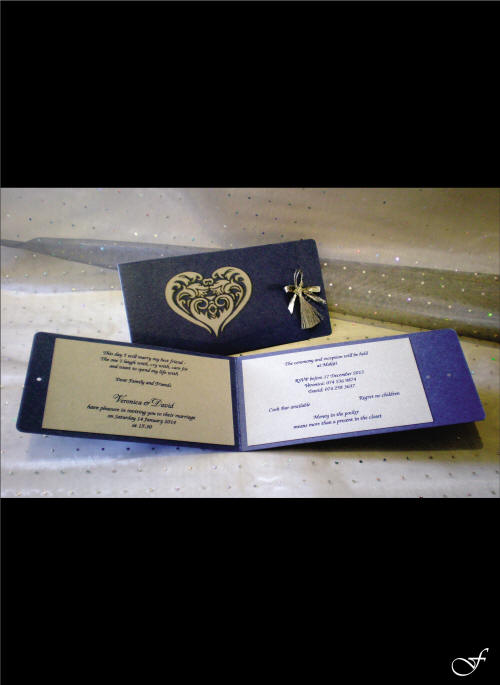 Laser Engraved Folded Wedding Invitation by Fralenco