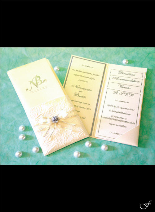 Wedding Invitation Folded with Pearls by Fralenco