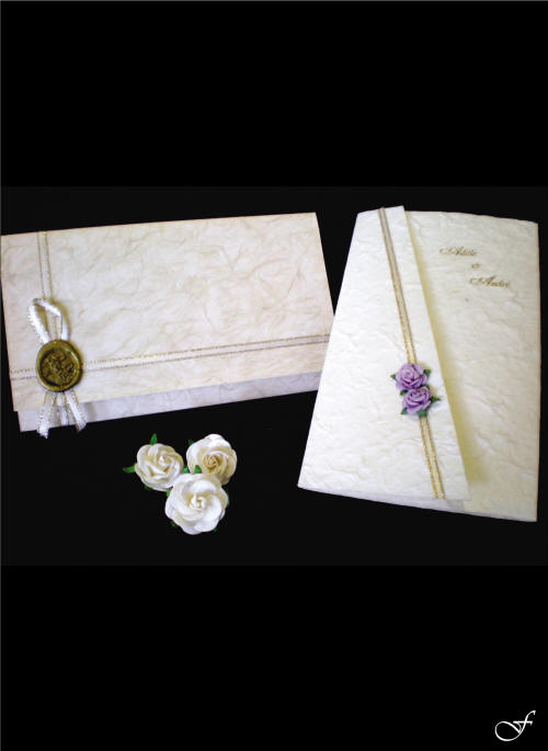 Rose Attached to folded Wedding Invitation by Fralenco