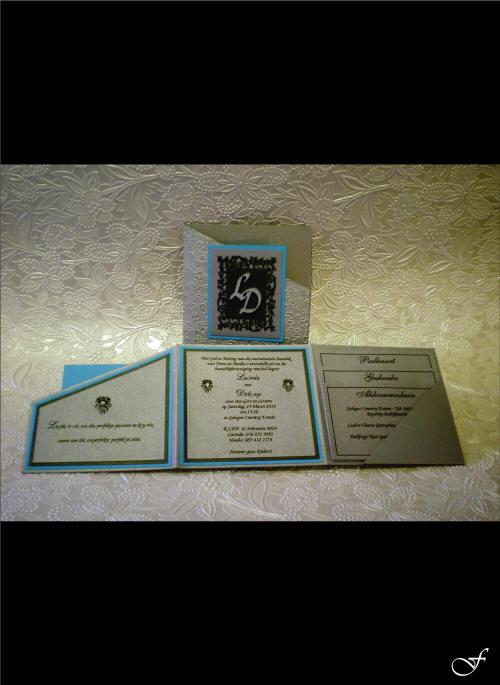 Folded 3 Way Blue Wedding Invitation by Fralenco