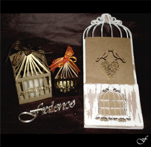 Wedding Invitation with Laser Cut Bird and Cage by Fralenco