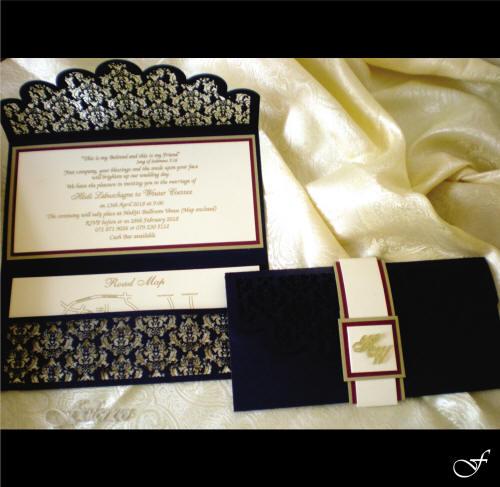 Folded Blue Laser Cut Wedding Invitation by Fralenco