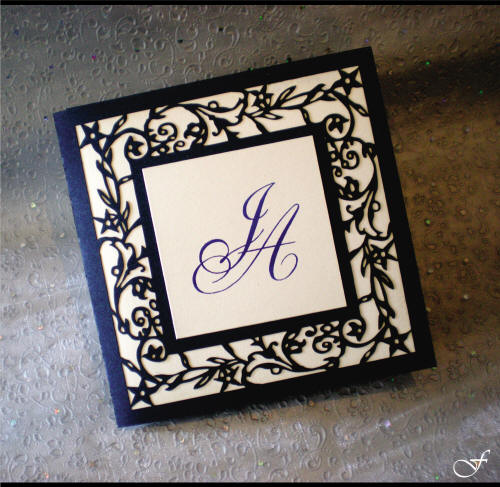 Laser Cut Wedding Invitation with Initials by Fralenco