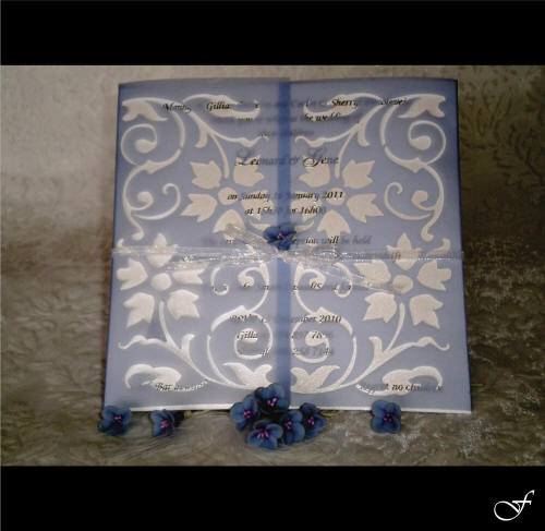 Opaque Blue Laser Cut Wedding Invitation from Fralenco