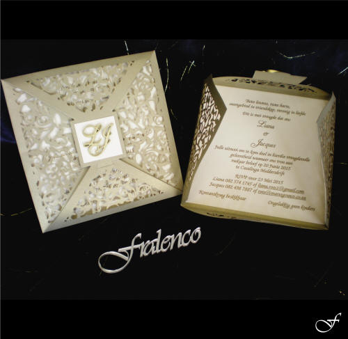 Wedding Invitation Laser Cut open and closed by Fralenco