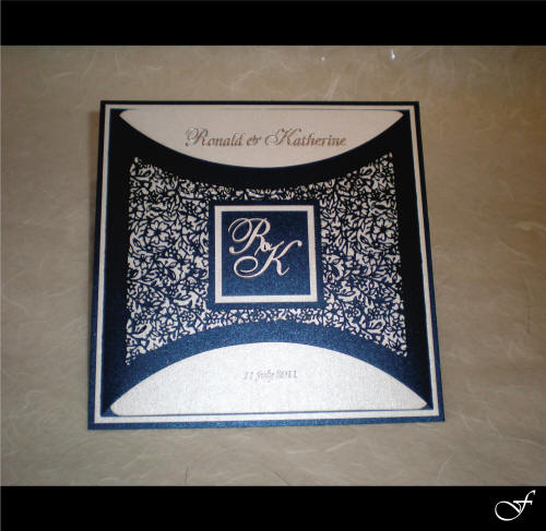 Wedding Invitation Laser Cut Blue with Initials by Fralenco