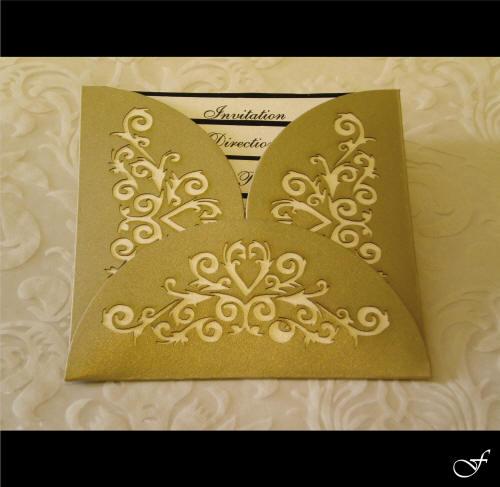 Laser Cut Gold Folder Wedding Invitation by Fralenco