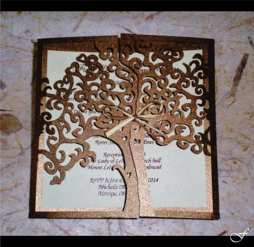 Wedding Invitation with Laser Cut Tree by Fralenco