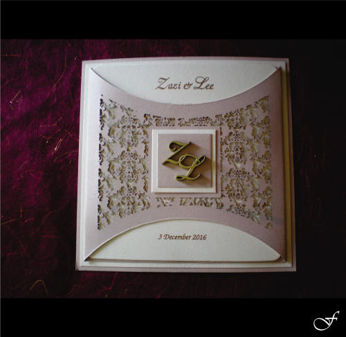 Wedding Invitation with Gold Initials by Fralenco