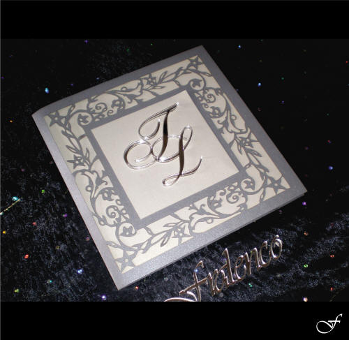 Wedding Invitation in Silver with Initials