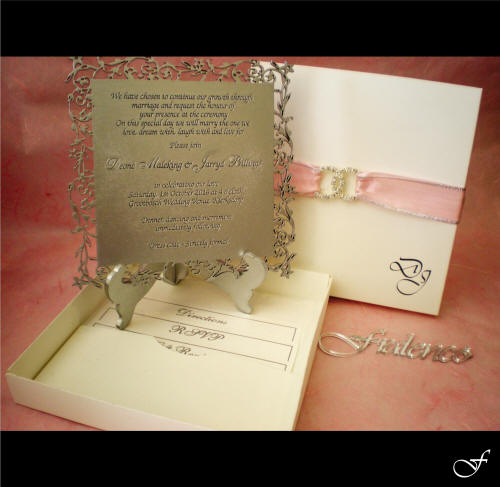 Laser Cut Wedding Invitation with Pink Ribbon by Fralenco