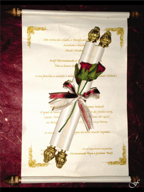 Scroll Wedding Invitation with Gold Rod by Fralenco