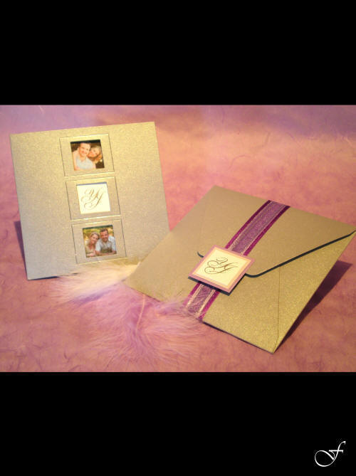 Wedding Invitation Pullout Cards with Purple Ribbon - Fralenco