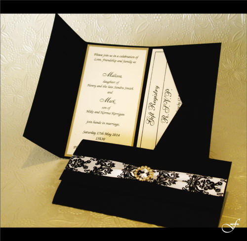 Wedding Invitations With Black & White Ribbon By Fralenco