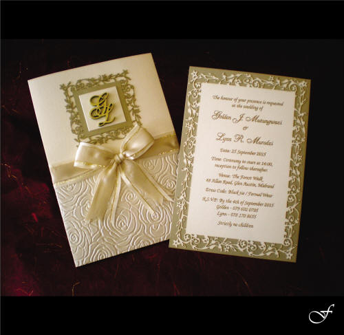 Wedding Invitations With Cream & Gold Ribbon By Fralenco