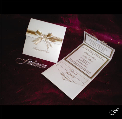 Wedding Invitations With Gold Ribbon By Fralenco