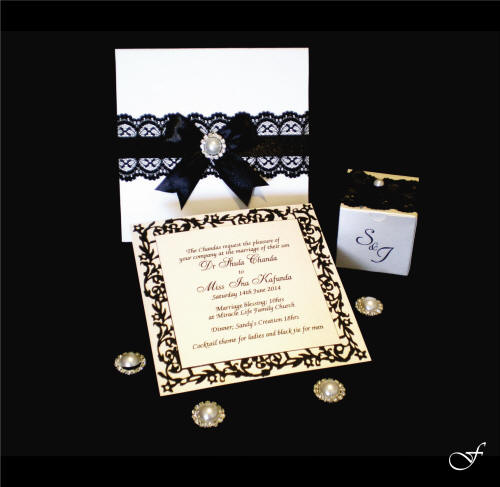 Wedding Invitations With Black Lace Ribbon By Fralenco